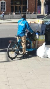 Ann example of a sustainable delivery driver leaving the BMSI Waterloo office to deliver site controls to our Lime St project in the City.